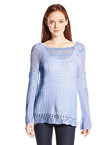 NY Collection Womens Petite Long Raglan Sleeve Boat Neck Open Stitch Pullover Sweater, Infinity, Petite/Medium