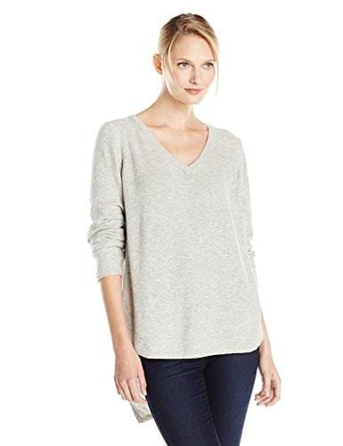 Democracy Womens V-Neck Lace Up Back Asymmetric Hem Lightweight Sweater, Heather Grey, Small