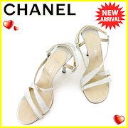 15514ed4f116 シャネル CHANEL サンダル シューズ 靴 レディース ♯39 クロスデザイン ニュートラベルライン グレー 灰色 シルバー