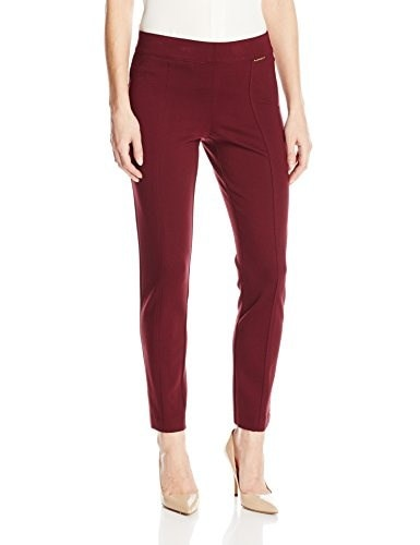Anne Klein Womens Seamed Compression Ponte Pant, Troubadour Red, 4