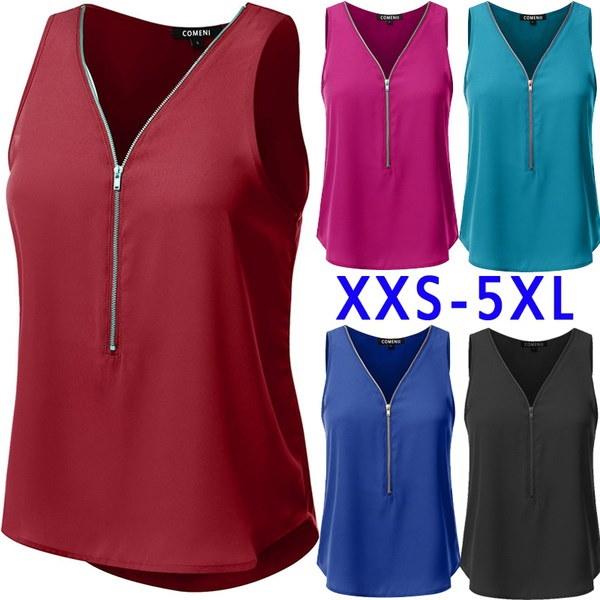 2017夏の女性のカジュアルシャツルーズVネックセクシーなジッパータンクトッププラスサイズ5XL