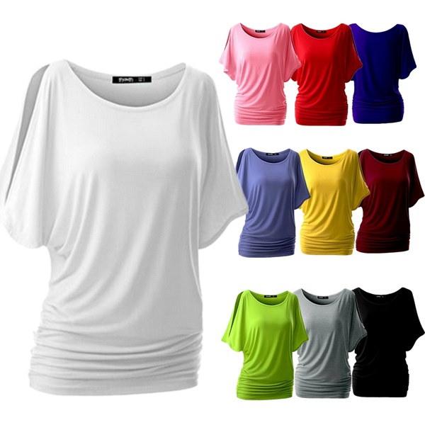 プラスサイズの夏の女性のカジュアルなTシャツは、ショルダーファッション女性のブラウスS  -  5XLオフトップ