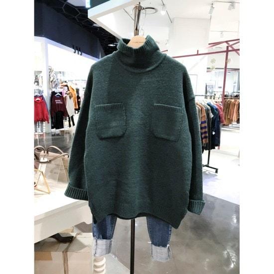 スタジオホワイトさんポケットポルラネクニートMCC27S609 / ニット/セーター/タートルネック/ポーラーニット/韓国ファッション