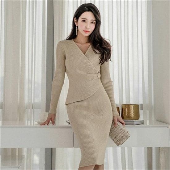 イランジ行き来するようにイランジデルランジュリングラップニット・ワンピース プリントのワンピース/ 韓国ファッション
