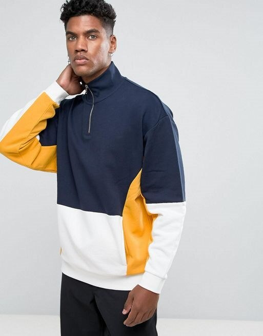 ASOS Oversized Half Zip Cut & Sew Sweatshirt