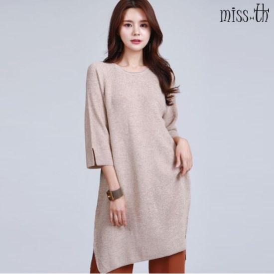 ミスティーに一開けたことロング丈ニット ロングニット/ルーズフィット/セーター/韓国ファッション