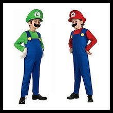 即納【送料無料】ハロウィン★コスプレ スーパーマリオ コスチュームsupermario マリオ Luigi Mario  子供用ハロウィン コスチューム 子供 スーパーマリオ 男の子 衣装