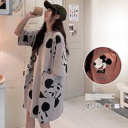 2FA680    可愛い半袖Tシャツワンピース /夏 花柄トップス ブラウス 半袖 レディースロングTシャツ 大きいサイズ スタンドカラー かわいい 韓国ファッション ワンピース 夏