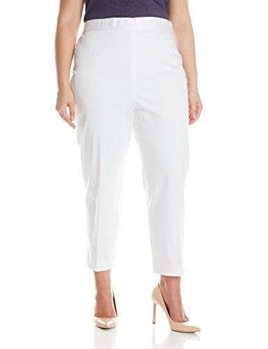 Pendleton Womens Plus-Size Trudy Capri, White Stretch Sateen, 16W