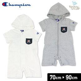2729067e70a21 チャンピオン champion ベビー 赤ちゃん 子供服 半袖 カバーオール ロンパース フード付 ジップアップ 男の子 出産祝い