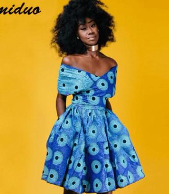 アフリカのドレスセクシーなホルターネックのストラップデジタル印刷が薄い大きなスカートでした