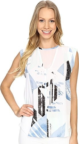 Vince Camuto Womens Sleeveless Pastel Fresco Blouse w/ Chiffon Insets Echo Blue Blouse MD