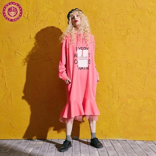 [エルフ色] [ELF SACK]ネットテールフードワンピース 綿ワンピース/ 韓国ファッション