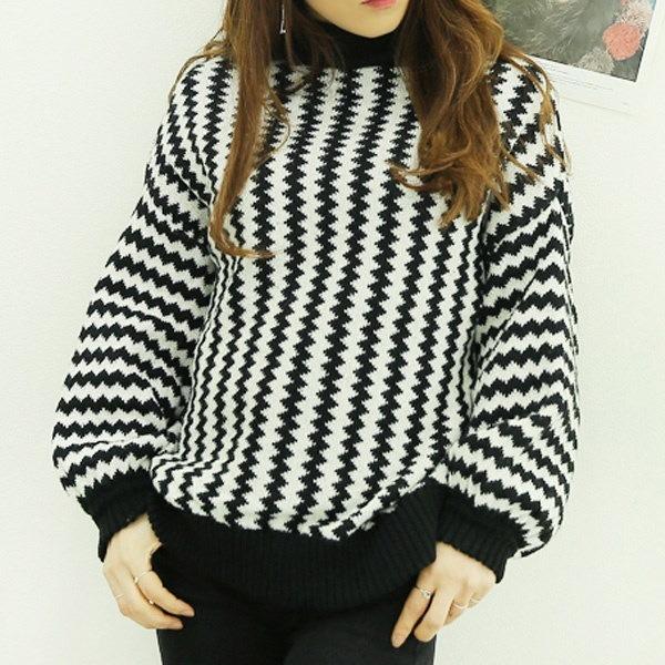 【海外直送】ハイネックジグザグニット フリーサイズ 韓国ファッション レディースファッション