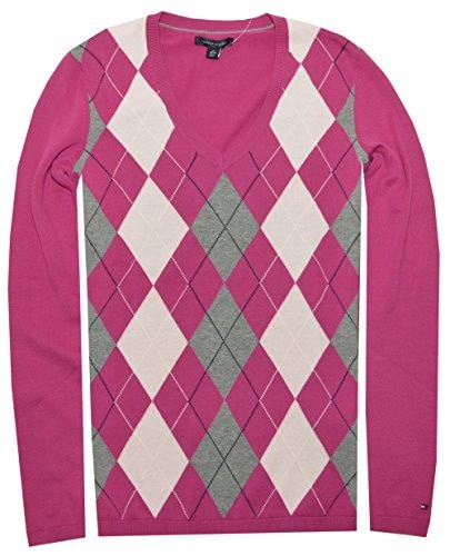 Tommy Hilfiger Women Classic Argyle Sweater (Small, Fuchsia/Baby Pink/Grey)