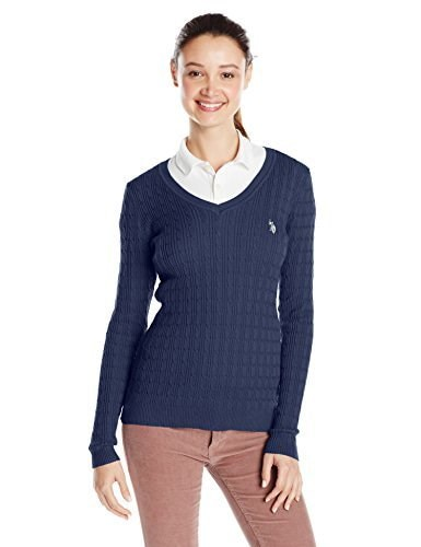 U.S. Polo Assn. Juniors Solid Cable Knit V-Neck Pullover, Evening Blue Combo, Small
