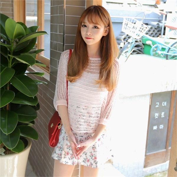 kt366コア高麗の夏ニットビーチウェアデイリーシースルー網タイツnew 女性ニット/ Vネックニット/韓国ファッション