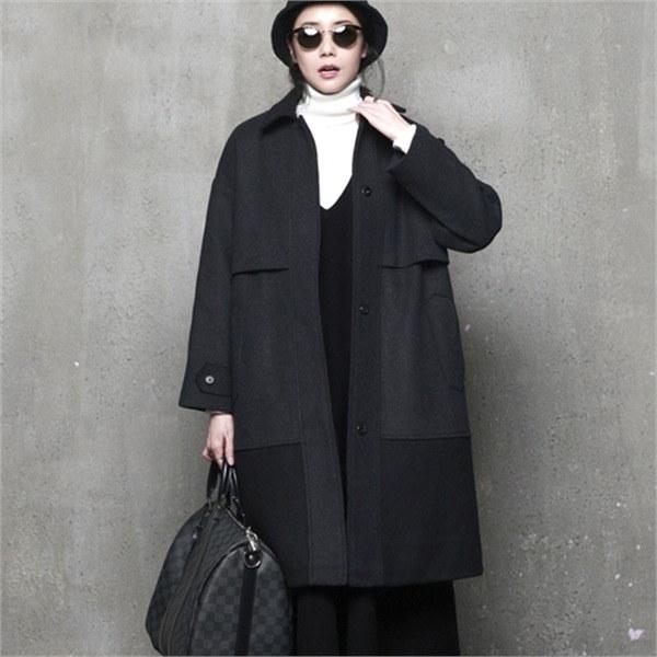 A269モダンスナップボタンケープ・ウールのコートnew 女性のコート/ 韓国ファッション/ジャケット/秋冬/レディース/ハーフ/ロング/