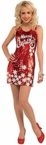 Forum Novelties Women s Racy Sequin Merry Christmas Costume Dress, Red/White, One Size