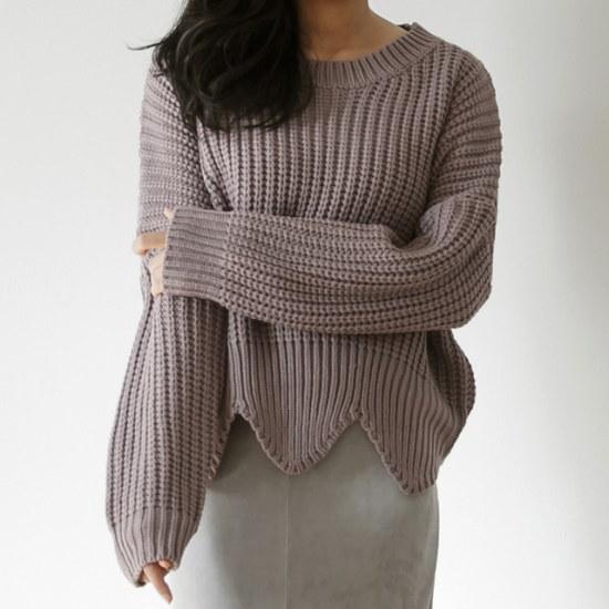 ディエイスディエイスリブル波ニット ニット/セーター/ニット/韓国ファッション