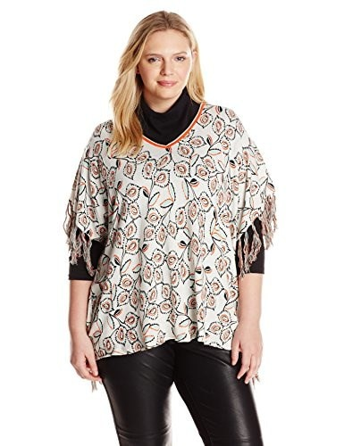 Democracy Womens Plus-Size Printed V-Neck Sweater Ponch with Fringe, Ivory/Orange, 3X