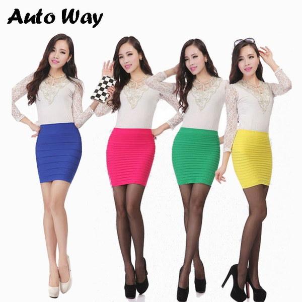 女の子の鉛筆のスカートの女性のための自動ウェイファッションミニ女性のスカート