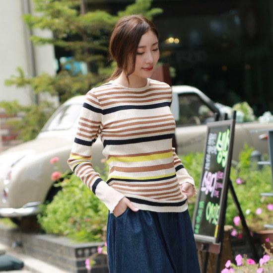 マンゴー気・ストライプゴルジニットGKN003 ニット/セーター/ニット/韓国ファッション