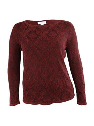 Charter Club Womens Crewneck Brocade Detailed Sweater (L, Boysenberry)