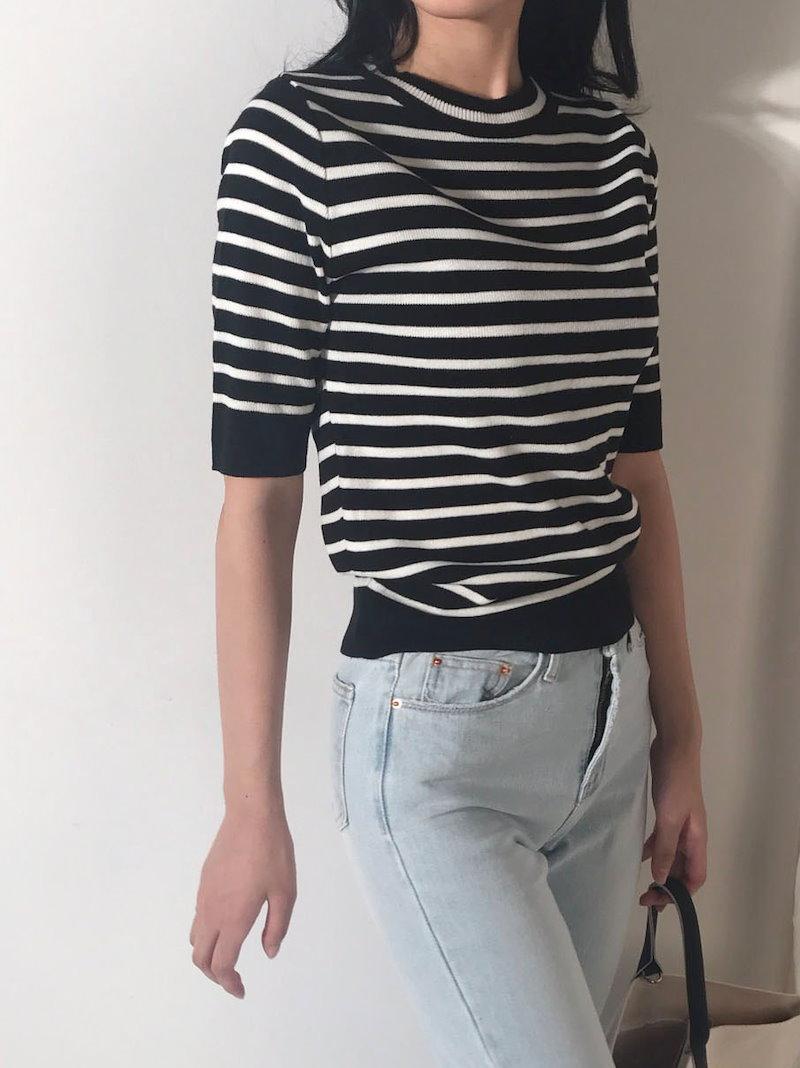 オードストライプニットトップkorea fashion style