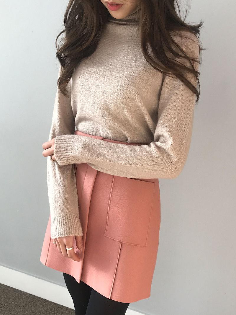 フィンガーナチュラルポーラニットkorea fashion style