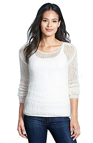 Eileen Fisher Wide-Knit Womens Large Long Sleeve Sweater Ivory L