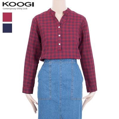釘宮チャイナチェクバンオープン南方KK3BL339A チェックシャツ/ブラウス/韓国ファッション