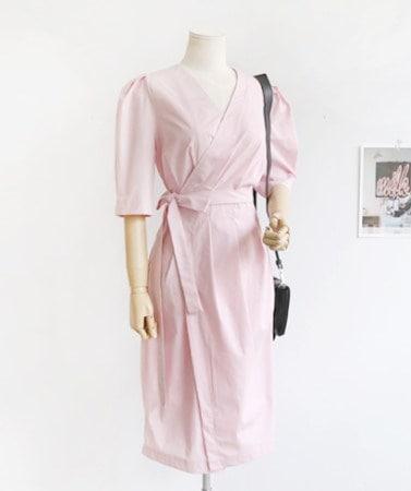 たおやかなゲストルックオフィスルックパフスリーブピンクラップワンピース30337デイリールックkorea women fashion style