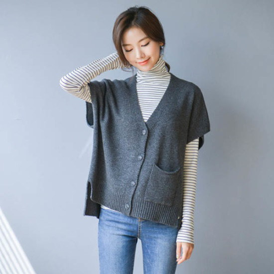 ジャストウォンドロップ小売ラムウールチョッキ ベセチュウ / ニット・ベスト/ 韓国ファッション