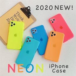 【送料無料】ネオンカラーiPhoneケース カバー 夏 韓国 2020 11 11Pro 8 7 クリア TPU ソフト ハード 大人気 おしゃれ