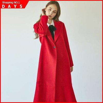 [ジャストイン・スタイル]の裾やフリルウールのコート・レッド /ロングコート/コート/韓国ファッション