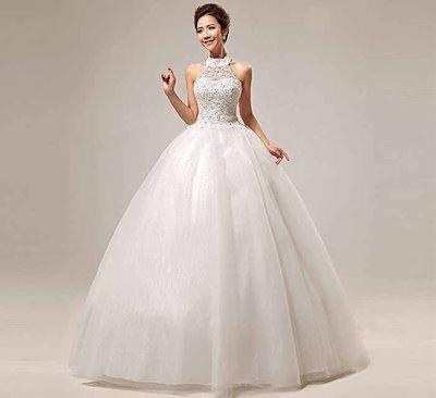 韓国風 花嫁礼服 ウェディングドレス 編み上げ バックレス 水晶?スパンコール スイート ホルターネックタイプ XCGB02