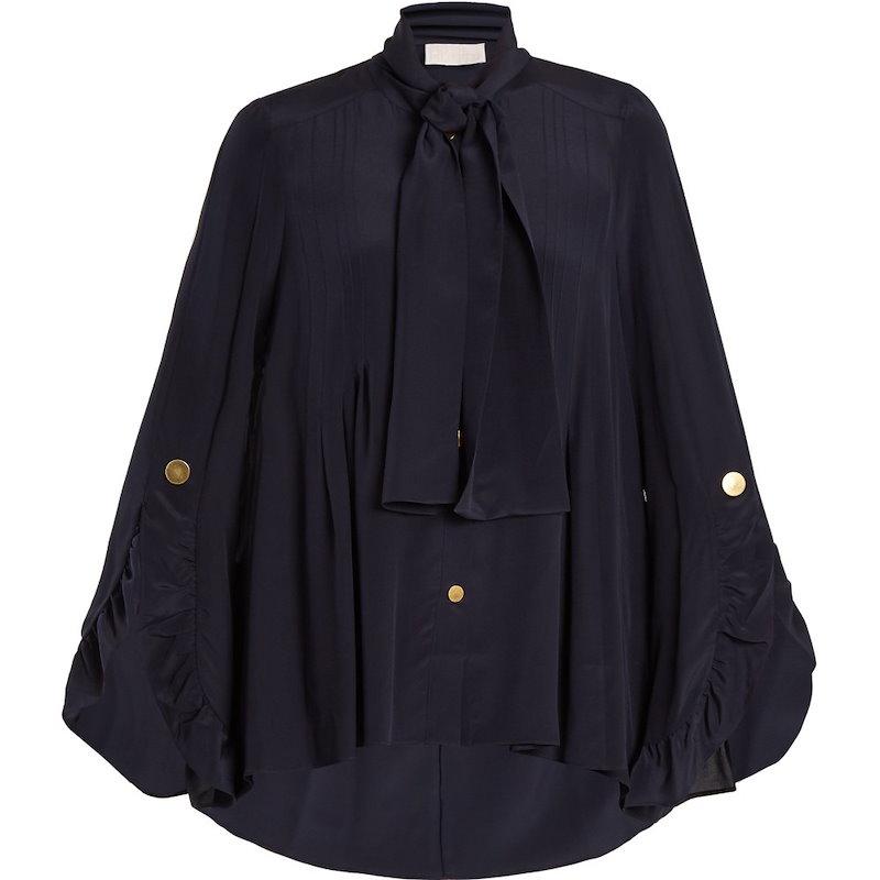 ピーター ピロット レディース トップス ブラウス・シャツ【Ruffle-trimmed silk crepe de Chine blouse】Navy