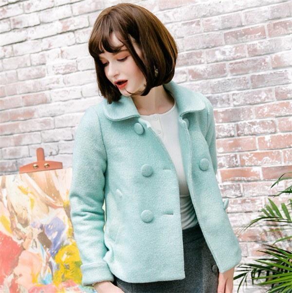 シンプル Wボタン  秋新作 ファッション フリース スリム スクール コットン クラシック   着痩せ