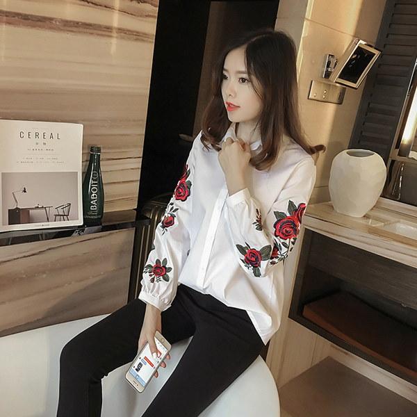 春新品 レディースシャツ 長袖 すきっり 刺繍入り 通勤 オライプ柄  大きいサイズ 着痩せ シャツ