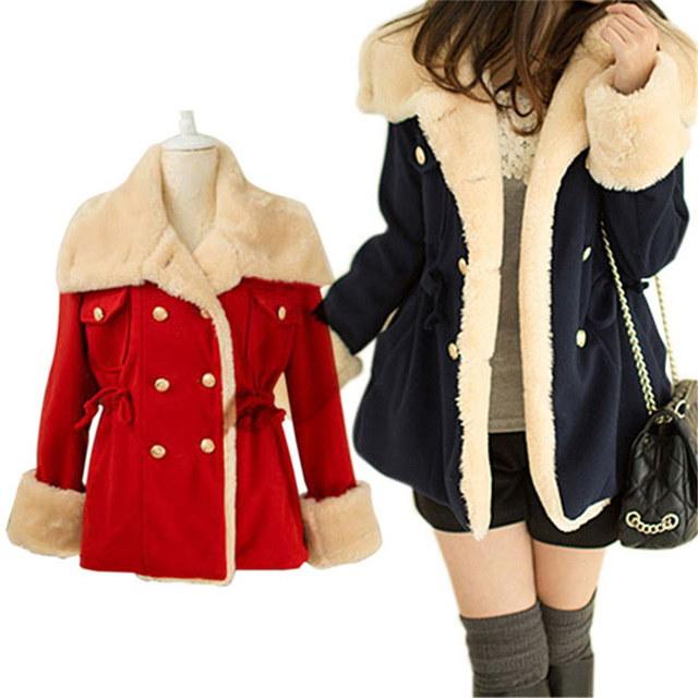 新しい冬暖かい韓国のファッションウールブレンドジャケットダブルブレストレディースコート生き抜きます