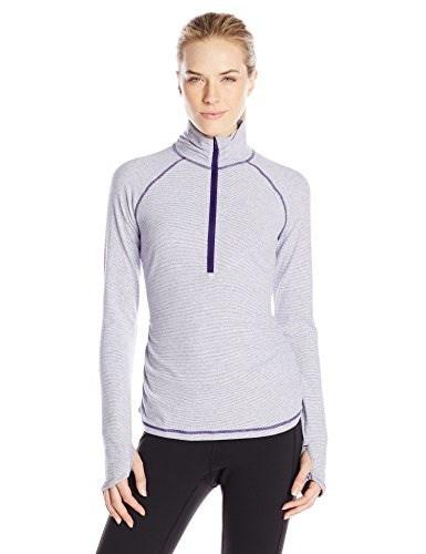 Lucy Womens Dashing Stripes Half Zip, Royal Purple Stripe, Medium