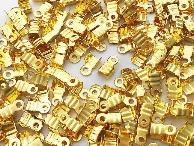 紐止め金具 カシメ ゴールド 200個 幅3mm エンドパーツ 留め金具 アクセサリー パーツ (AP0833)