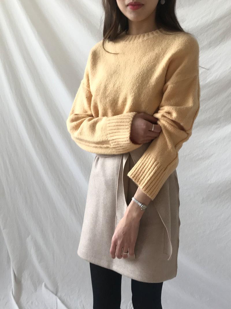 ミエルベーシックバックスリットニットkorea fashion style