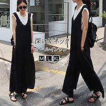 【韓国ファッション】Vネックサロペットパンツ/レディース/オールインワン/オーバーオール/ワイドパンツ/ガウチョパンツ/パンツ/パンツ/九分丈パンツ