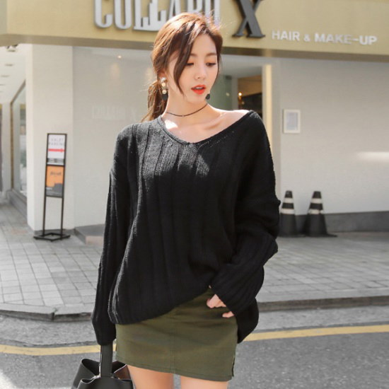 トムエンレビッパパブイニットブイネク・ニットルーズフィットニットゴルジニットロング・ニット ニット/セーター/ニット/韓国ファッション