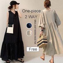 自社生産 高品質 韓国ファッション/ワンピース レディース マキシ 半袖 ロング 大きいサイズ Vネック 無地 おしゃれ 可愛い ブラック 2TYPES