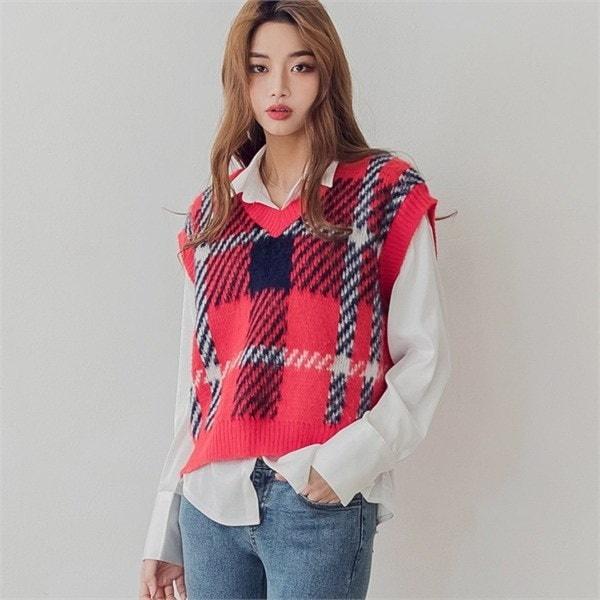 classic check VT /ベストnew 女性ニット/ニットベスト/韓国ファッション