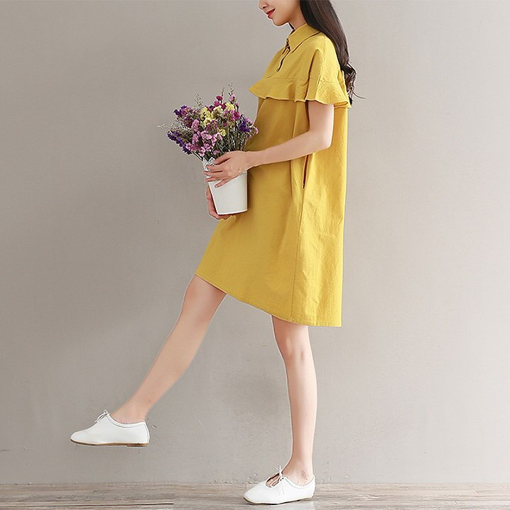 マスタードケープワンピース可愛いケープスタイルの可愛らしいワンピースkorea fashion style