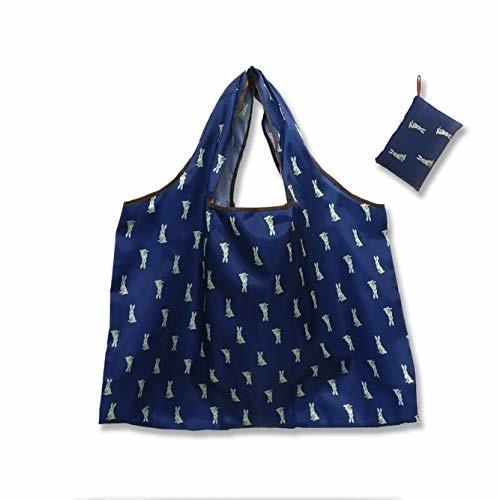 エコバッグ 大容量 折りたたみ ショッピング バッグ ショッピングバッグキャリーバッグ買い物バッグ エコバッグ 折りたたみ 人気 持ち運び便利 防水素材 ブルー ラビット